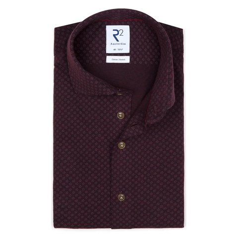 Red bourgundy piquet knitted cotton shirt.