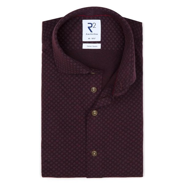 R2 Red bourgundy piquet knitted cotton shirt.