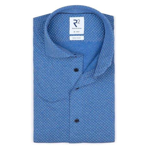 Blaues Jersey-Shirt aus gestrickter Baumwolle.