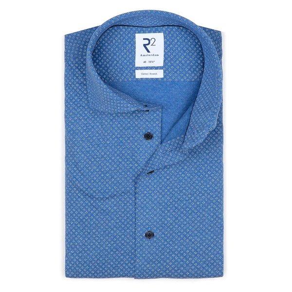 R2 Blauw jersey knitted katoenen overhemd.