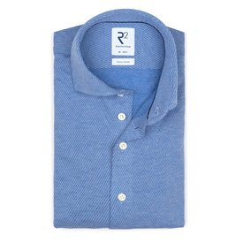 R2 Blue dobby knitted cotton shirt.