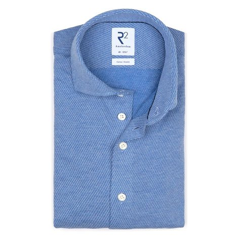 Blauw dobby knitted katoenen overhemd.