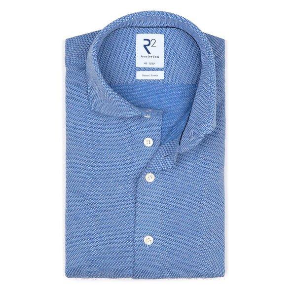 R2 Blauw dobby knitted katoenen overhemd.