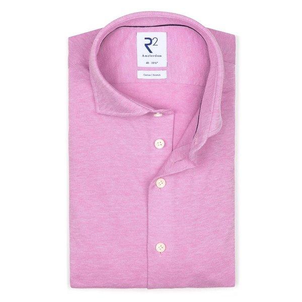 R2 Pink piquet knitted cotton shirt.