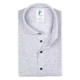 R2 Light grey piquet knitted cotton shirt.