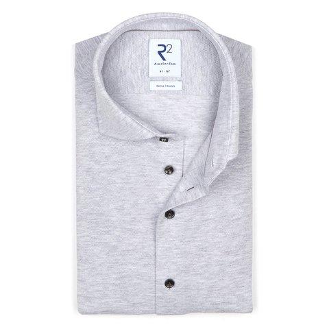 Light grey piquet knitted cotton shirt.