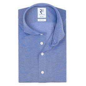 R2 Blue piquet knitted cotton shirt.