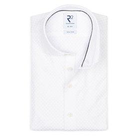 R2 White piquet knitted cotton shirt.