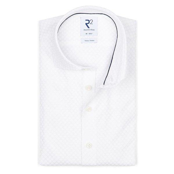 R2 Weißes Piquet-Strickhemd aus Baumwolle.