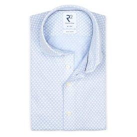 R2 Light blue piquet knitted cotton shirt.