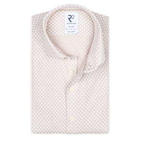 R2 Beige piquet knitted cotton shirt.