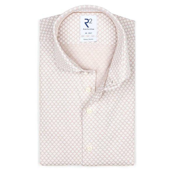 R2 Beige piqué knitted katoenen overhemd.