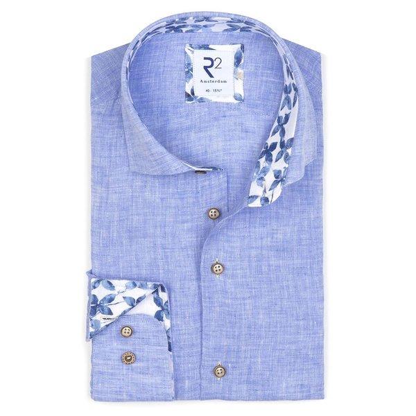 R2 Light blue linen shirt.