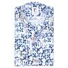 White floral print linen shirt.
