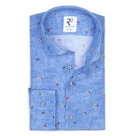 R2 Blaues Viscose Hemd mit Blumendruck.