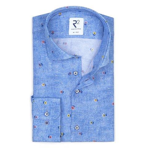 Blue flowerprint viscose shirt.