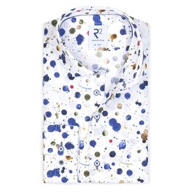 R2 White splash print cotton shirt.