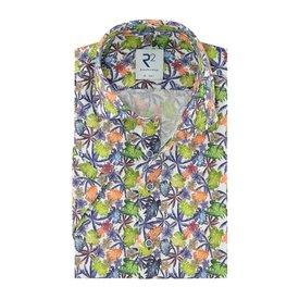 R2 Kurzärmeliges Leinenhemd mit tropischem Blattdruck.