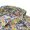 Kurzärmeliges Leinenhemd mit tropischem Blattdruck.