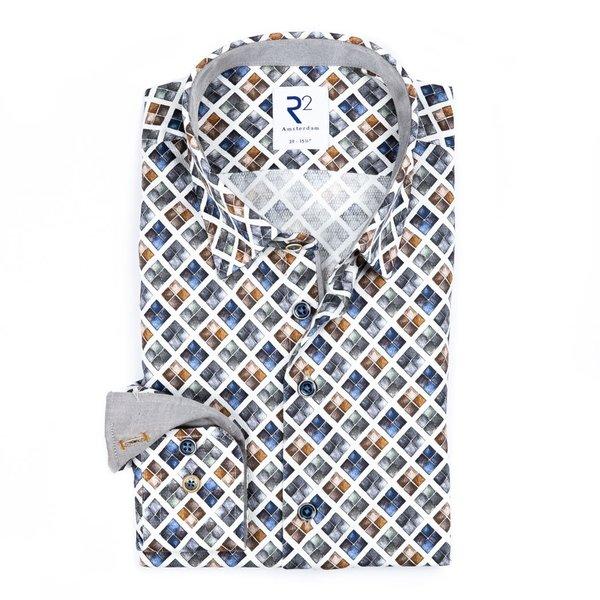R2 White graphical print cotton shirt.