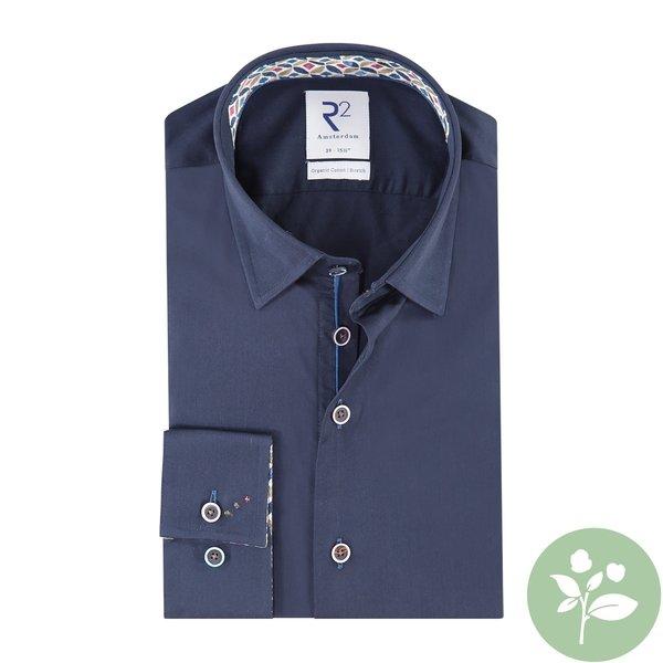 R2 Navy blauw organic cotton overhemd.