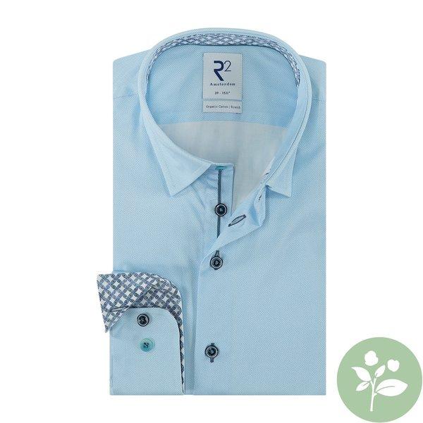 R2 Lichtblauw 2 PLY oxford organic cotton overhemd.