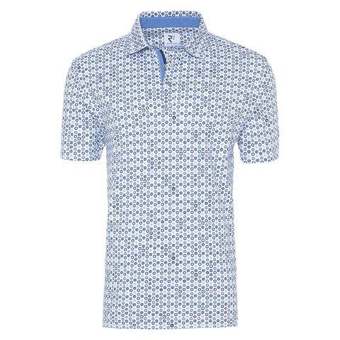 Polohemd mit blauen Punkten print.
