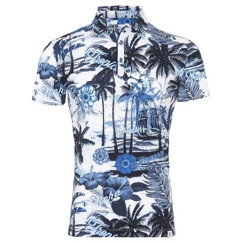 Weißes Hawaii-Poloshirt.