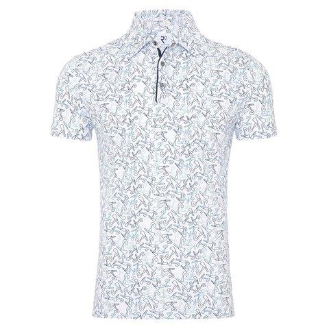 Polo mit weißem Blumendruck.