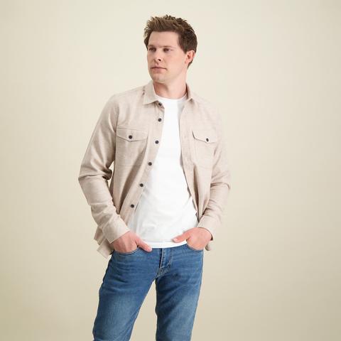 Beige Baumwoll-Overshirt.