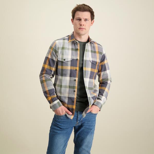 R2 Mehrfarbig kariertes Oxford Baumwoll-Overshirt.