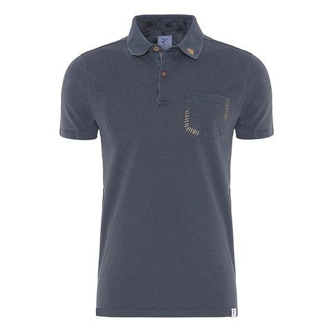 Dunkelblaues einfarbiges Polo Baumwollehemd.