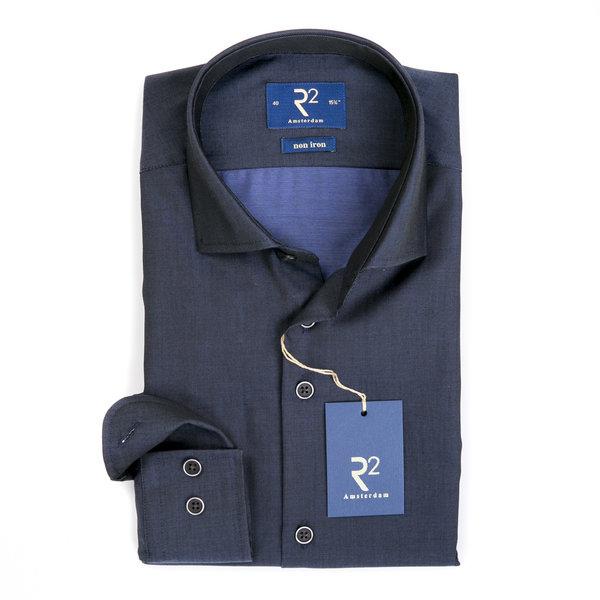 R2 Navy blauw strijkvrij katoenen overhemd.