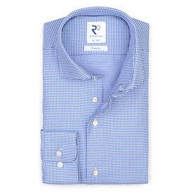 R2 Blaues bügelfreies Dobby Baumwollhemd.