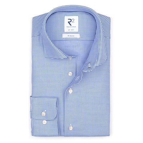 Blauw strijkvrij Dobby katoenen overhemd.