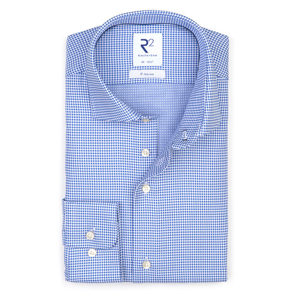 R2 Blauw strijkvrij Dobby katoenen overhemd.