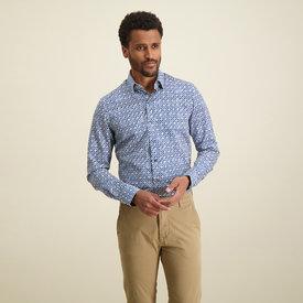 R2 Blue beige graphic print cotton shirt.