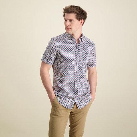 Korte mouwen meerkleurig grafische print katoenen overhemd.