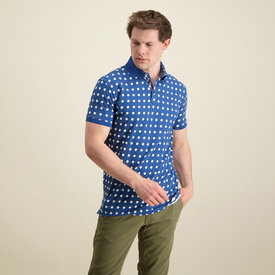 R2 Navy blue dots print dobby knitted cotton polo.