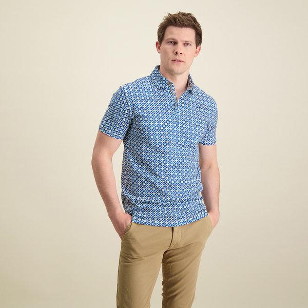 R2 Blauw grafische print piqué katoenen overhemd.