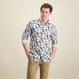 R2 White flower print linen shirt.