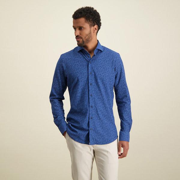 R2 Blauw piqué knitted katoenen overhemd.