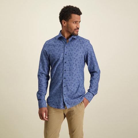 Blauw piqué knitted katoenen overhemd.