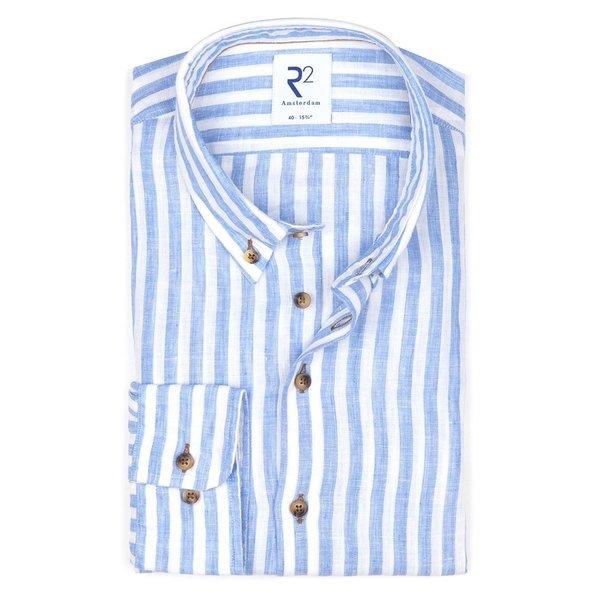 R2 Lichtblauw gestreept linnen overhemd.