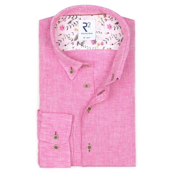 R2 Roze linnen overhemd.