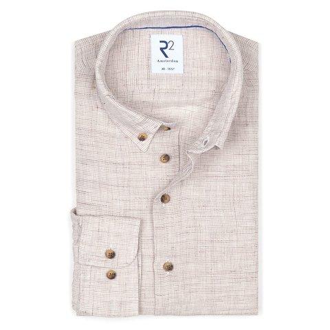 Grijs pied de poule linnen overhemd.