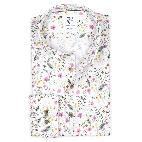 Multicolour bloemenprint linnen/katoenen overhemd.