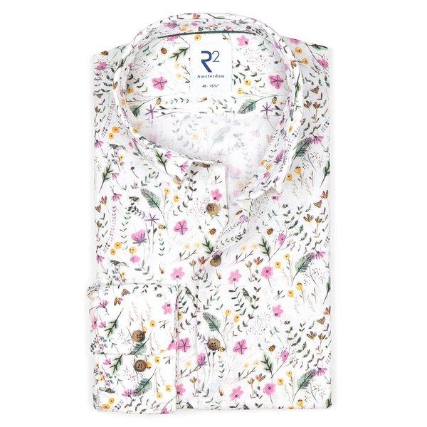 R2 Multicolour bloemenprint linnen/katoenen overhemd.