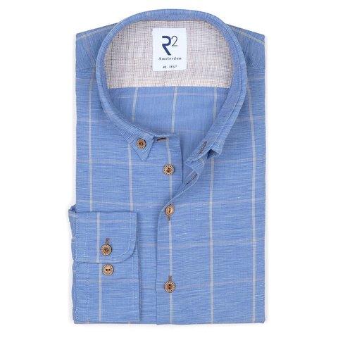 Blauw geruit linnen/katoenen overhemd.