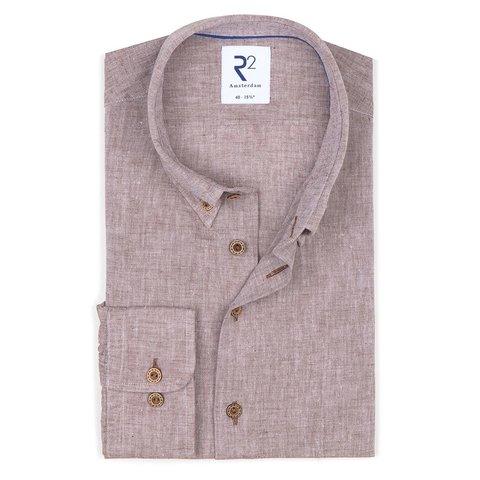 Bruin linnen/katoenen overhemd.